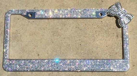 Crystal Clear Silver Rhinestone License Plate Frame with Upper | Etsy
