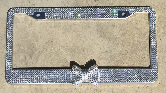 Crystal Clear Silver Rhinestone Bling License Plate Frame
