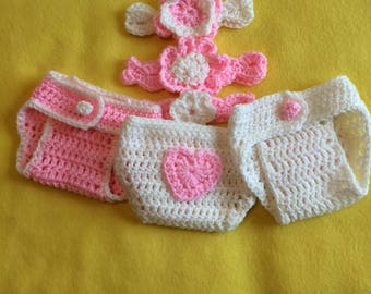 Baby Girl Diaper Covers with Matching headbands