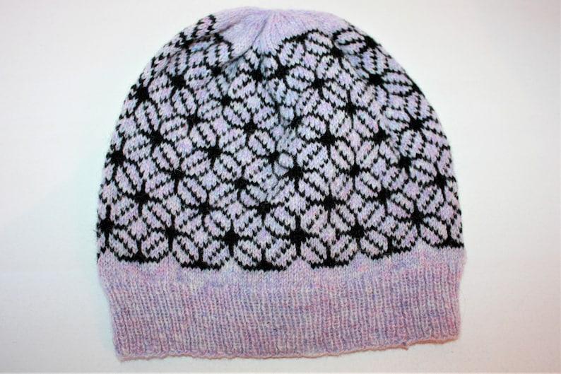 WJP073 Ready to Ship HOXTON Ladies Girls Hand Knitted Geometric Fair Isle Slouchy Beanie Hat Toque in Scottish Shetland Wool Gift