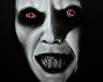 "The Exorcist Captain Howdy Pazuzu Original Charcoal Drawing 9"" x 12"""