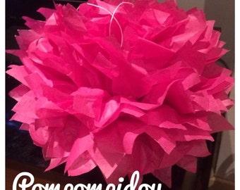Pack de 2 pompones en papel de seda de color fucsia