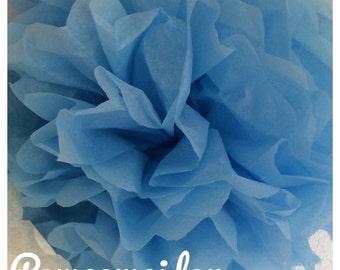 Pack de 2 pompones en papel de seda de color azul
