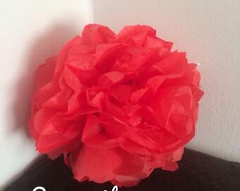 Pack de 2 pompones en papel de seda rojo