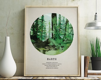 Earth, Forest Poster, art, print, wall decor, 12 x 16 in