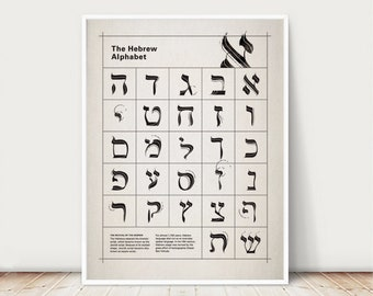 The Hebrew Alphabet Typography Poster, print, wall decor 9 x 12 in, 12 x 16 in, 20 x 28 in