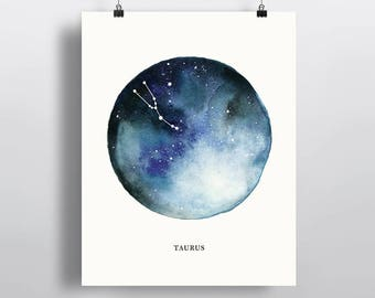 Taurus Constellation, astrological sign, watercolor art, Zodiac poster print, wall decor 5 x 7 in, 8 x 10 in, 11 x 14 in