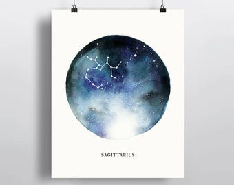 Sagittarius Constellation, astrological sign, watercolor art, Zodiac poster print, wall decor 5 x 7 in, 8 x 10 in, 11 x 14 in
