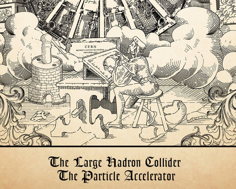 8a443baf8 CERN Medieval Style Poster print wall decor science art 5 x