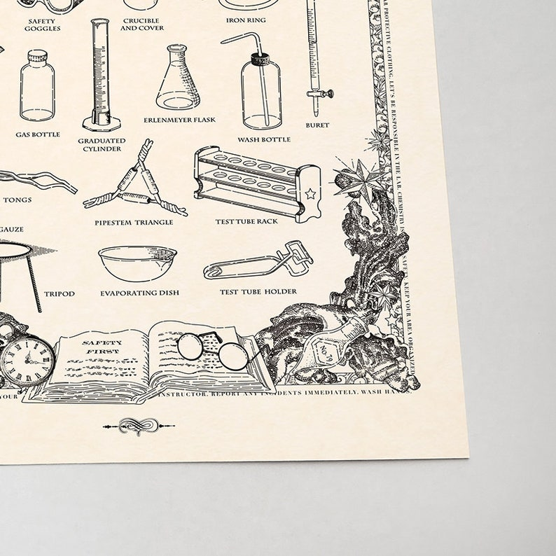 Aurum color 12 x 16 in Vintage style Chemistry Lab Equipment Poster print wall decor