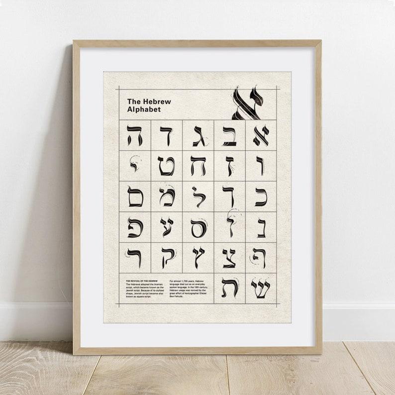 The Hebrew Alphabet Typography Poster print wall decor 8 x image 0