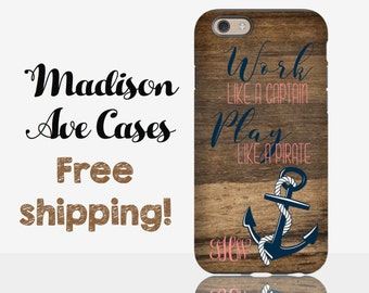 Work like A Captain Play Like A Pirate Monogram Nautical Customize Wood Anchor Samsung Galaxy Edge S5 S6 S7 iPhone 4 5 6 6s Plus Phone Case