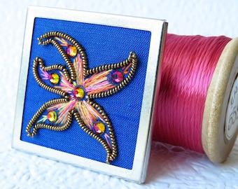 Starfish Embroidered Brooch, Beach Jewellery, Swarovski Crystal Jewellery
