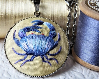 Blue Crab Embroidered Silver Necklace Pendant, Crab embroidery Pendant.