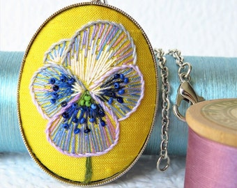 Purple Pansy Embroidery Silver Necklace. Hand Embroidered Pansy Jewellery Pendant.