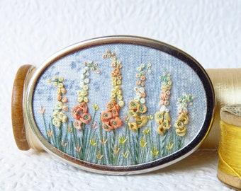 Ribbon Embroidery Hollyhock Flower Silver Brooch. Orange Garden Embroidered Jewellery.