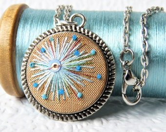 Mid Century Modern Embroidered Necklace. Retro Embroidery Pendant. Vintage Jewellery.