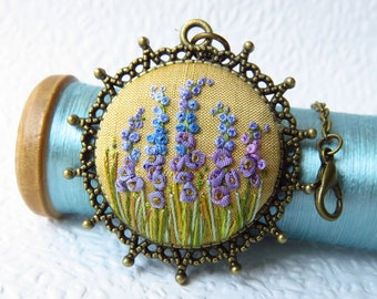 Ribbon Embroidery Hollyhock Flower Necklace. Purple Garden Embroidered Jewellery.