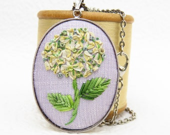 Yellow Hydrangea Antique Ribbon Embroidery Silver Necklace. Embroidered Jewellery Pendant.