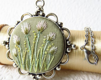 White Flower Garden Necklace. Antique Style Flower Embroidery. Vintage Style Embroidery Pendant.