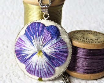 Pansy necklace, Purple pansy pendant, Hand embroidery necklace.