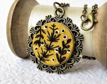 Black Leaf Sprig Embroidered Necklace, Graphic Embroidery Leaf Pendant