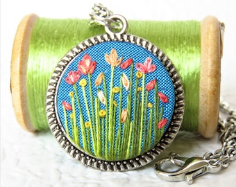 Hand Embroidered Flower Garden Silver Necklace. Flower Embroidery Pendant Jewellery.