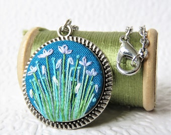 Turquoise Embroidered Flower Garden Silver Necklace. Flower Embroidery Pendant Jewellery.