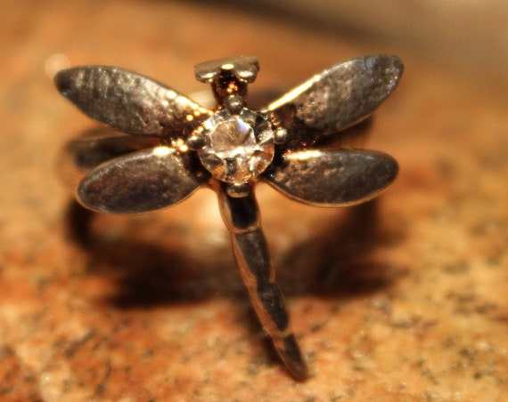 Vintage Dragonfly Ring Sterling Silver Size 8 Ladies Silver Dragonfly Ring Vintage Silver Rings Sterling Silver Dragonfly Ring Stamped 925