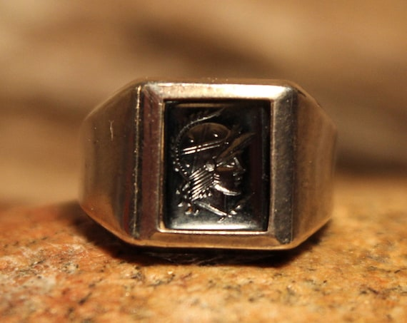 Mens Silver Rings Roman Soldier Ring Size 7 Vintage Sterling Silver Hematite Ring 4.5 Grams Roman Cameo Ring Mens Silver Ring Mens Ring