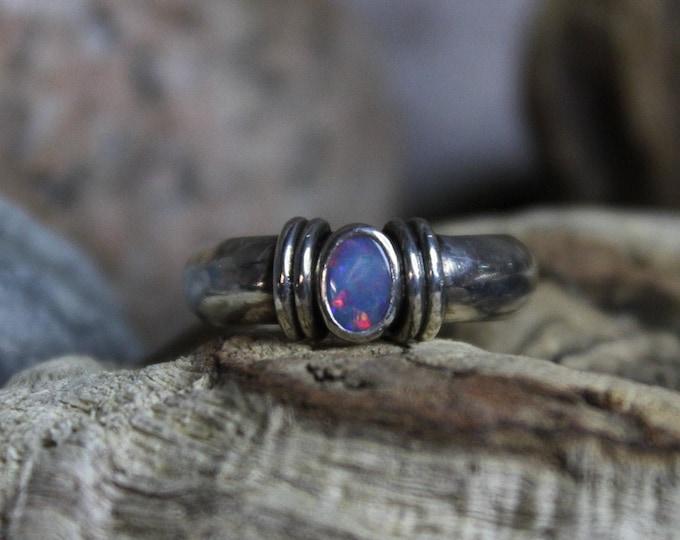 Vintage Sterling Silver Natural Black Opal Ring Vintage Opal Ring 7.2 Grams Size 6.5 Vintage Opal Rings Vintage Black Opal Rings Opal Ring