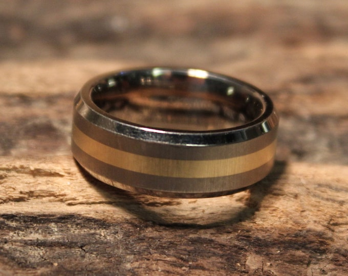 Mens Rings Wedding Band Titanium 14K Gold Ring Size 6.5 Weight 4.5 Grams Titanium Gold Ring Promise Ring Mens Bands Unisex Wedding Band Ring