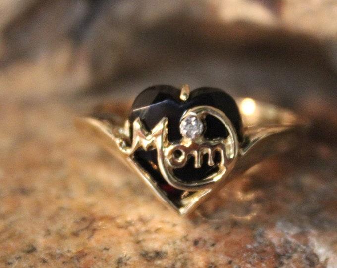 "Vintage 10k Gold Onyx Diamond Ring Gold ""MOM"" Ring 2.7 Grams  Gold Womans Ring Size 7 Gold Rings Vintage Onyx Ring Vintage Diamond Ring"