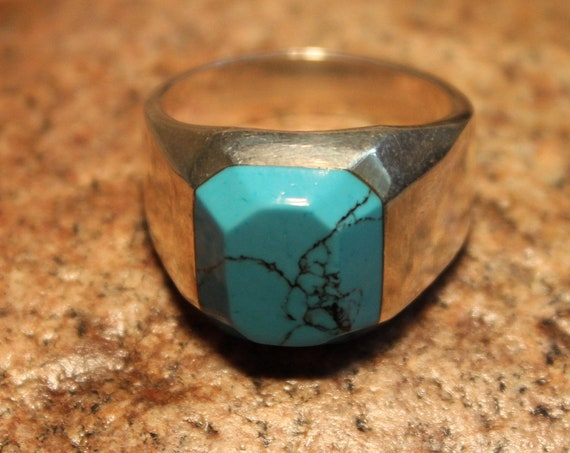 Large mens ring Mexico Sterling Silver Mens Turquoise Ring Heavy 15.1 Grams Size 11 Large Vintage Mens Turquoise Ring Mens Ring Large  Ring