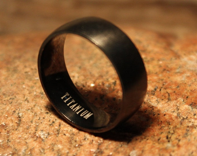 Mens Ring Titanium Wedding Band 8mm Band Black Titanium Ring Size 10 Titanium Ring Promise Ring Friendship ring Engagement Ring Wedding Ring