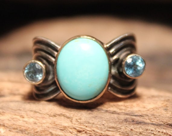 Vintage Turquoise Topaz Silver & Gold Ring 925 Size 6 Sterling Silver 14K Gold 8.5 Grams Ladies Rings Ladies Jewelry Sterling Silver Ring