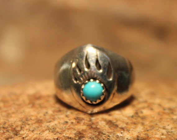 "Vintage Sterling Silver Mens Ring Bear Paw Navajo Native American Signed ""R"" Sterling 5.3 grams Size 6.5 Sterling Silver Turquoise Mens Ring"