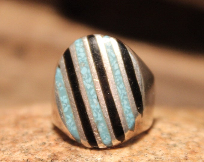 Large Mens Ring Mexico Sterling Silver Mens Turquoise Ring Heavy 14.7 Grams Size 7.5 Large Vintage Mens Turquoise & Onyx Ring Mens Rings