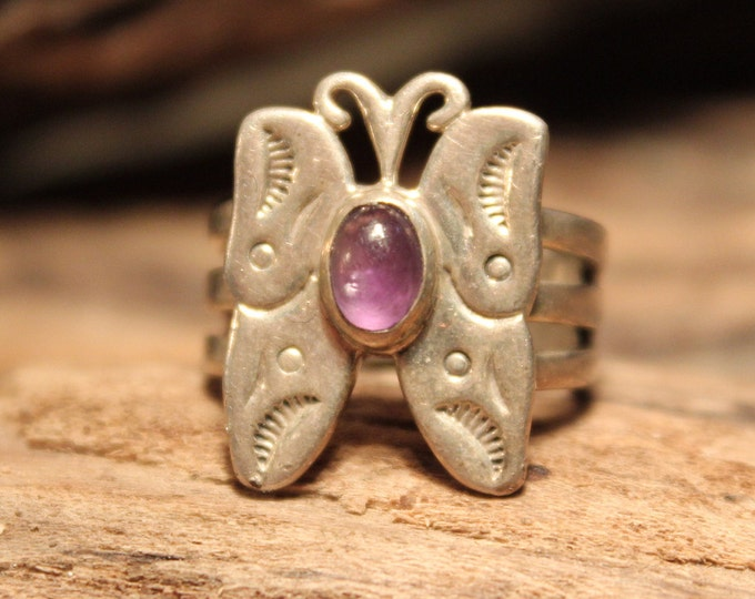 Vintage Carolyn Pollack Butterfly Silver Ring Southwestern Rings Butterfly Amethyst Ring Size 5.5 Heavy 6.5 Grams Mens Rings Unisex Ring