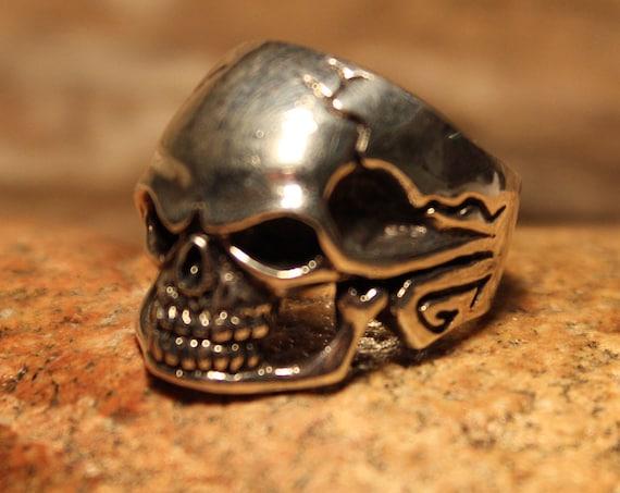 Mens Silver Ring Vintage 925 Mens Biker Skull Ring Heavy 13 Grams Size 10 Vintage 925 Biker Ring Large Vintage Sterling Silver Mens Ring