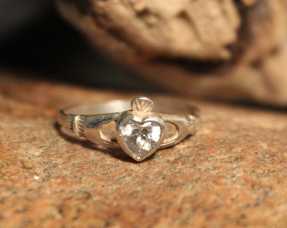 Vintage Irish Claddagh Ring Moissanite Solitaire Ring Sterling Silver Moissanite Ring 1.4 Grams Size 7  Sterling Silver Ring Vintage Ring
