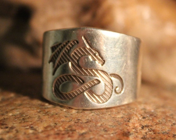 Vintage Mens Sterling Silver Viking Dragon Ring Size 11 Mens Viking Ring 11.8 Grams Viking Sterling Rings Viking Rings Mens Dragon Rings