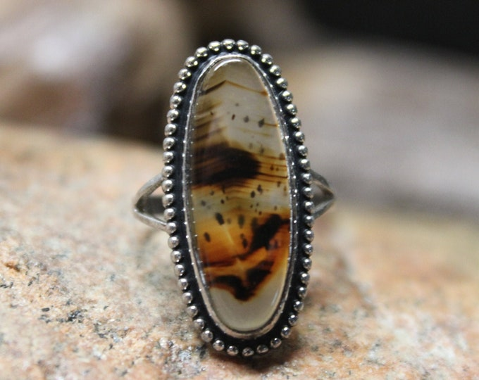 1990's Vintage Sterling Silver Moss Agate Ring Vintage Size 4.5 Vintage Silver Rings 4.1 Grams Vintage Silver Ring Moss Agate Silver Rings