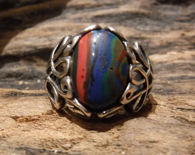 Vintage Southwestern Mens Ring Sterling Silver Rainbow Calsilica Ring Size 8 weight 6.5 Grams Mens Ring Sterling Silver Ring  Mens Vintage