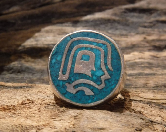 Sterling Aztec Warrior Vintage Ring Mexico Eagle 3 Signed 9.2 Grams Size 7 Mens Turquoise Ring Vintage Mexico Silver Soldier Ring Mayan Ring