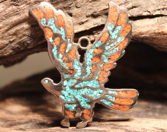 Large Vintage Navajo Turquoise & Coral Eagle Necklace Pendant  10.8 Grams Sterling Silver Native American 925 Turquoise Coral Navajo Pendant
