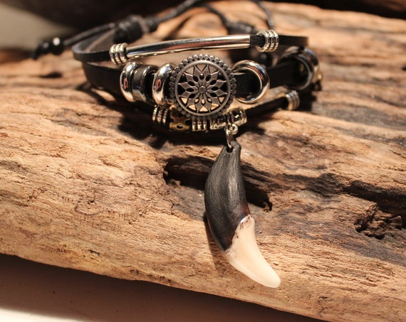 Wolf Tooth Bracelet Wolf Teeth Bracelet Wolf Bracelet Tribal Wolf Tooth Adjustable Bracelet African Native American Tribal Spiritual Healing