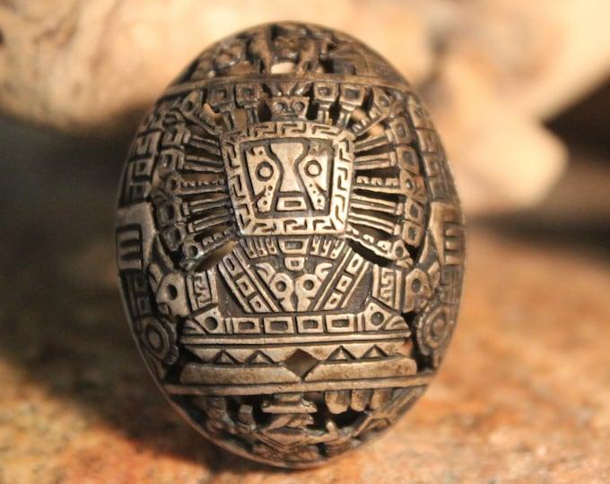 Rare Vintage Arte Orfebre 1950 Peruvian Ring Inca Sterling Silver Dome Ring 15 Grams  Size 6 Silver Peru Rings  Peruvian storyteller Ring