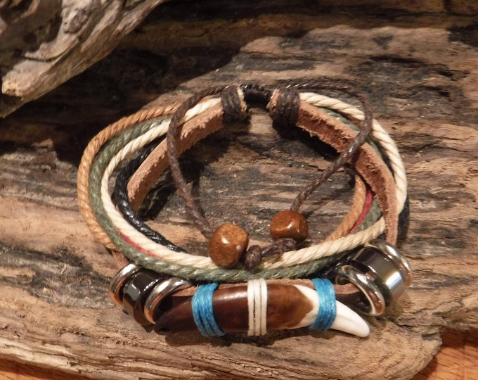Large Wolf Tooth Bracelet Wolf Bracelet Wolf Bracelet Tribal Wolf Tooth Bracelet Adjustable African Native American Tribal Spiritual Healing