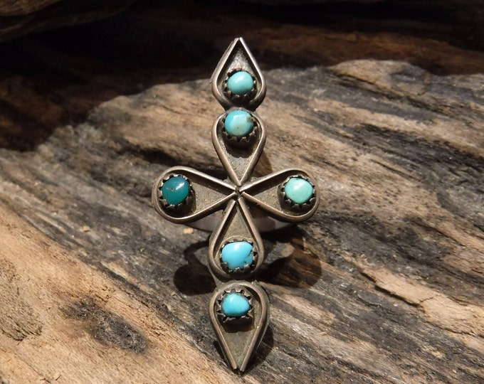 Large Vintage Navajo Silver Cross Turquoise Ring 4 Grams Size 4.5 Large Cross Ring Sterling Silver Native American 1960s Turquoise Ring